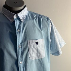 Blue Polo Button Down Short Sleeve Shirt